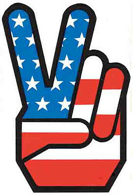 Peace Sign USA  Patriotic Hippy Vintage Style 1960's Travel Decal Sticker Label