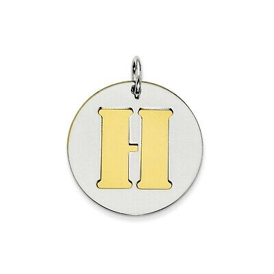 Sterling Silver GP Initial H Double Plate Round Charm (0.8in)