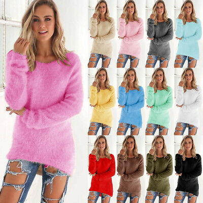 AU Womens Autumn Long Sleeve Fluffy Sweater Jumper Pullover Tops Blouse 6 - 18