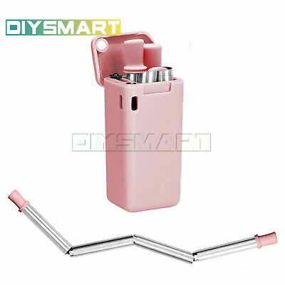 Reusable Metal Folding Collapsible Drinking simple Straw+Cleaning Brush+Box suit