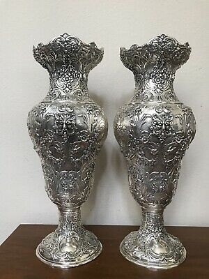 """Fabulous 925 STERLING SILVER Handcrafted Bacchus Ornate Vase Pair 17"""" Large 74oz"""
