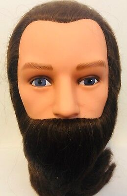"Marianna 20-22"" Cosmetology Mannequin Head 100% Human Hair - Beard Brown"