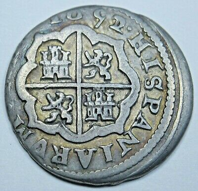1652/1 Spanish Silver 1 Reales Piece of 8 Real Colonial Era Pirate Treasure Coin