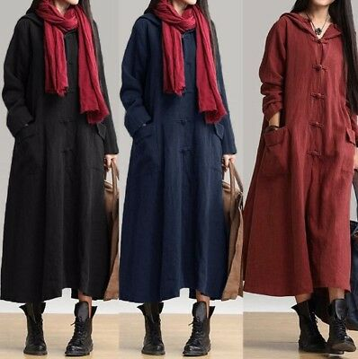 Fashion Womens Cotton Dresses Loose Casual Hooded Sweatshirts Long Maxi Dress