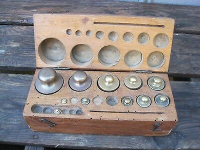 Antique Set Of Brass Scale  Weights - Metric B9594