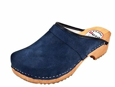 Women Clogs Wooden Sole Swedish leather  Suede Brown Red Beige Blue Model  P1