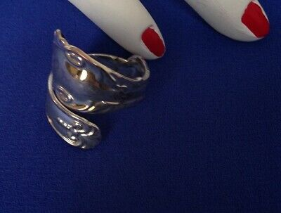 Gorgeous Silver Plated Ring In Wraparound Spoon Handle Style  - Size O (6 3/4)