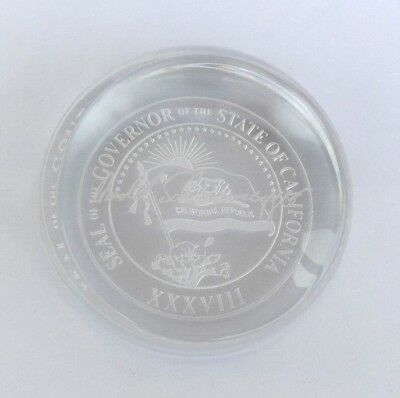 Arnold Swarzanegger Governor State Seal of CA Crystal Paperweight w/ Signature