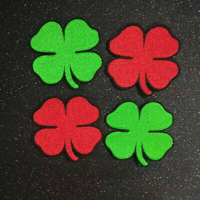 Iron on Lucky 4 leaf Irish Clover Patches Embroidered Applique Sewing Label badg