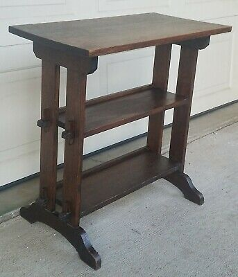 Sgnd ROYCROFT LITTLE JOURNEYS TABLE BOOKSHELF Arts & Crafts Stickley Era Antique