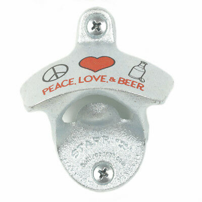 """New """"Peace Love & Beer"""" Wall Mounted Bottle Opener Screws Zinc Plated Cast Iron"""