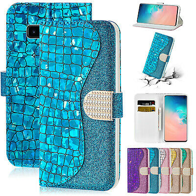 For Samsung Galaxy S10 5G S9 Plus S8 S7 S6 Case Bling Leather Flip Wallet Cover