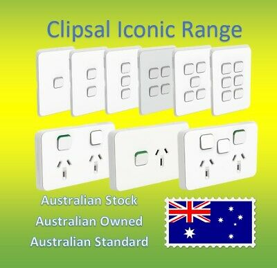 Clipsal Iconic 10A 240V Double Power Point Socket Outlet GPO Wall Light Switch