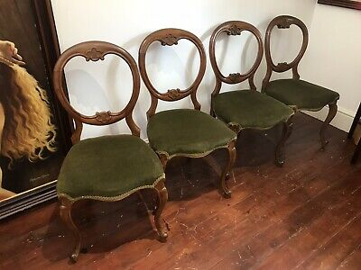 Set Of 4 Victorian Walnut Balloon Back Dining Chairs
