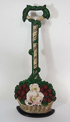 Vintage Painted Cast Iron Door Stop With Handle - Basket Of Fruit And Flowers