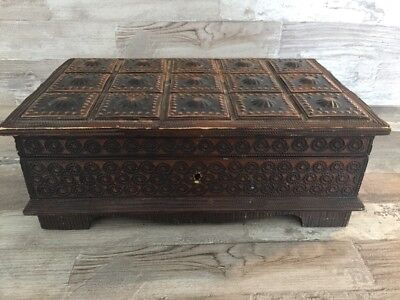 Vintage Rare Old Handmade Wooden Metal Jewelry box Schatulle W/ Keys