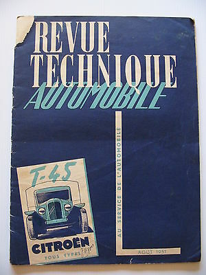 Revue Technique Automobile 1951 - CITROËN T-45