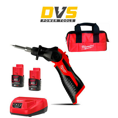 Milwaukee M12SI-0 M12SI-202B Cordless Soldering Iron 12V 2 x 2Ah Batteries