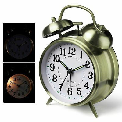 Loud Twin Bell Alarm Clock Snooze With Stereoscopic Dial Backlight Antique Style