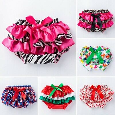 Newborn Baby Girls Ruffle Bloomers Layers Pants Diaper Cover Shorts Skirt #ctg