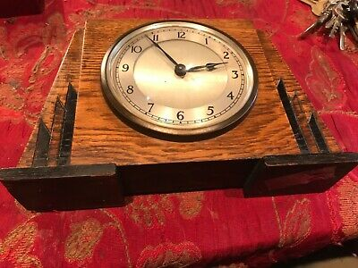 GARRARD LONDON ART DECO Oak cased Mantel Clock