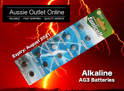 10x AG3 LR41 LR736 Button Coin Cell Eunicell Alkaline Battery 1.5V - AOO NSW