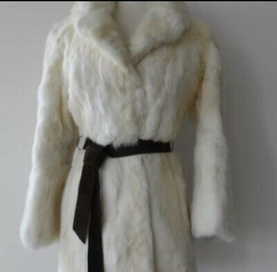VINTAGE 50s 1950s WHITE RABBIT FUR COAT JACKET