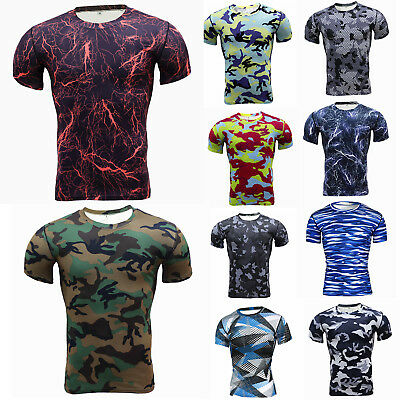 Mens Compression Base Layer Fitness Short Sleeve Muscle T-shirt Camo Gym Tee Top