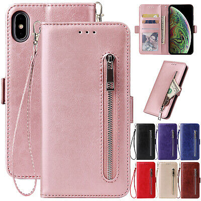 For iPhone 6s 8 Plus 7 XR XS Max Case Magnetic Leather Wallet Flip Zipper Cover