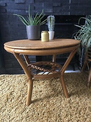 Vintage Mid Centry Bamboo Table Boho Coffee Occasional Plant Stand Table