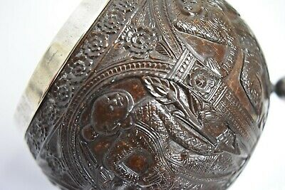 Rare Chinese Export Silver Carved Coconut Silver Lined Cup Amazing Item