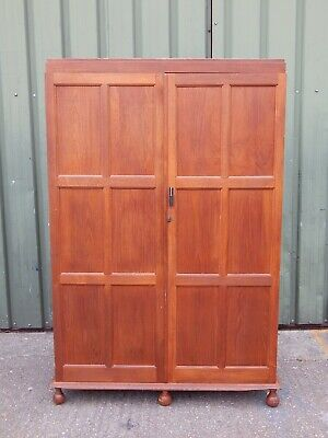 Superb mid century teak oak double door wardrobe compactum armoire with shelves