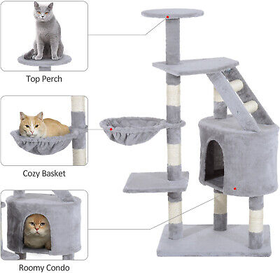 "49"" Deluxe Cat Tree Furniture Scratching Pet Tower Kitten Play Post Grey"
