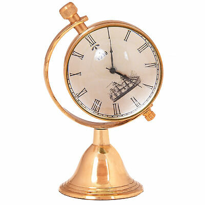 Vintage Antique Rotating Analog Desk Clock Brass Watch Home Décor 4 Inches