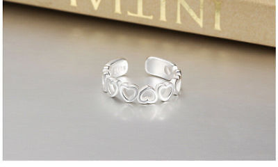 Shiny 925 Sterling Silver PLT Join Hollow Heart Adjustable Open Toe Ring Gift UK