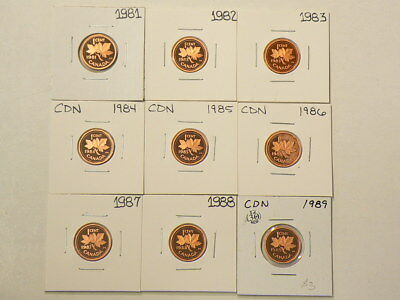 🍁 1981 to 1989 Canada Proof Cents Lot of 9 Unc  #1246