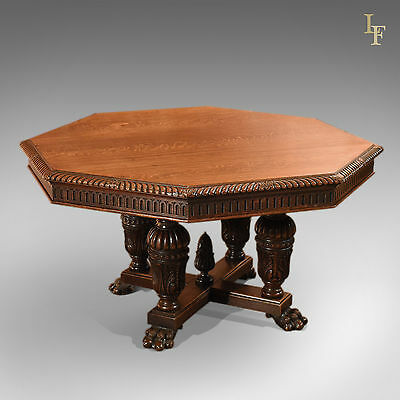 Antique Dining Table, Octagonal, Oak, Victorian, 8 Seater, Breakfast, c.1850