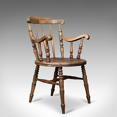 Antique Elbow Chair, English, Victorian, Country Kitchen, Armchair, Circa 1900