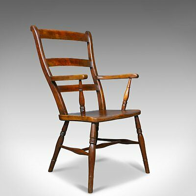 Antique Oxford Elbow Chair, Victorian, Windsor, Lath Back, Armchair, Elm, c.1850
