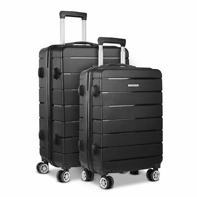 Wanderlite 2PC Luggage Suitcase Trolley - Black