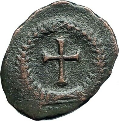 THEODOSIUS II 425AD Authemtic  Ancient Roman Coin Cross within wreath  i79284