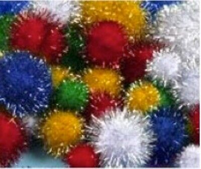 Pack of 100 Assorted Tinsel Pom Poms