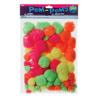 Pack of 100 Assorted Neon Pom Poms