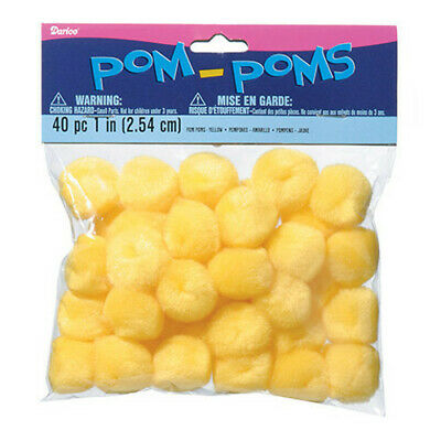 Pack of 40 Yellow Pom Poms 1""