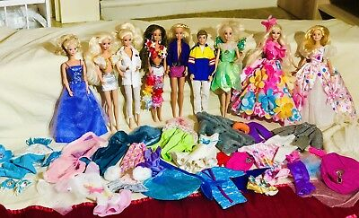 Bundle Big Lot Vintage Dressed Barbie Dolls (9) and Barbie Clothes Mattel