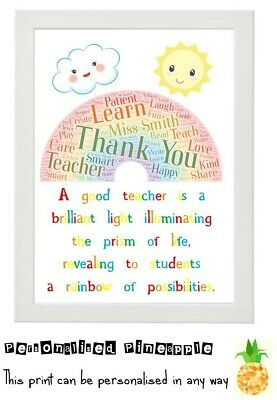 Personalised Teacher Nursery Childminder Print Thank You Gift Present - Rainbow