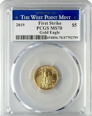 2019 $5 1/10 oz Gold Eagle PCGS MS70 First Strike - West Point Label