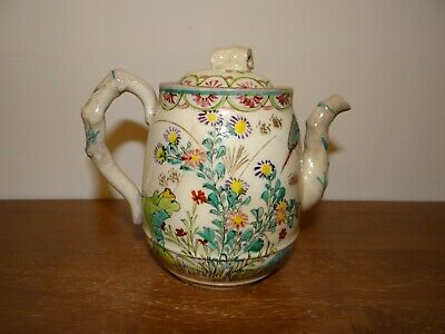 Antique Japanese 19th C Japanese Kiyomizu Teapot Polychrome Enamel Signed