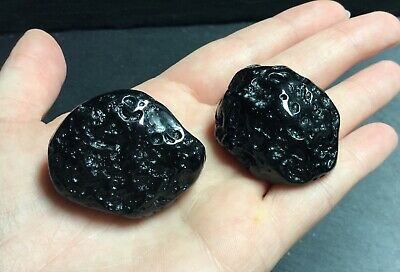 x2 Tektite Meteorites Polished 54g 35mm Psychic Crown Astral Dreams PT8