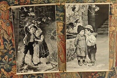 An Unusual Antique Pair Of Silk Tapestry * Children * Pictures / Wall Hangings